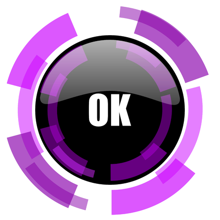smarthone: Ok pink violet modern design vector web and smartphone icon. Round button in eps 10 isolated on white background.