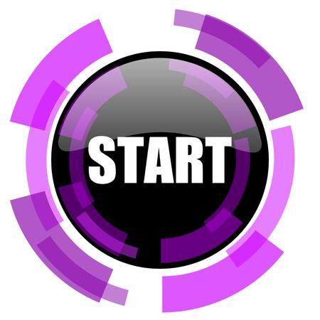 Starten Sie rosa violett modernes Design Vektor Web und Smartphone-Symbol. Runder Knopf in ENV 10 lokalisiert auf weißem Hintergrund. Vektorgrafik