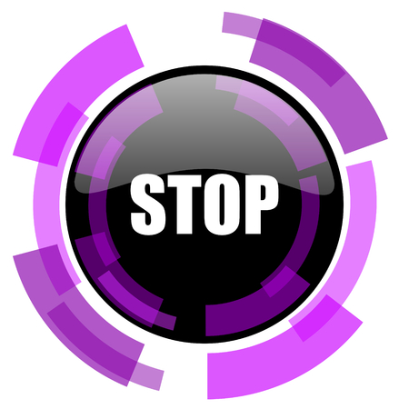Stop pink violet modern design vector web and smartphone icon. Round button in eps 10 isolated on white background.