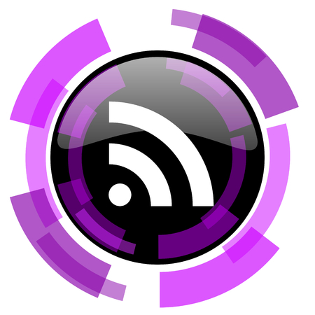 smarthone: Rss pink violet modern design vector web and smartphone icon. Round button in eps 10 isolated on white background. Illustration
