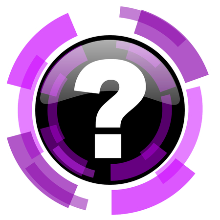 Question mark pink violet modern design vector web and smartphone icon. Round button in eps 10 isolated on white background.