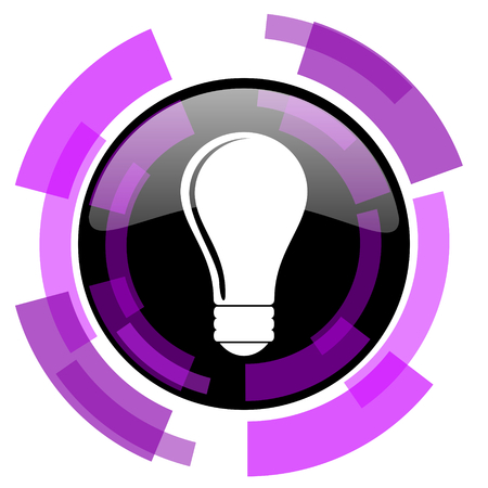 smarthone: Bulb pink violet modern design vector web and smartphone icon. Round button in eps 10 isolated on white background.