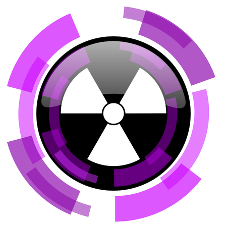 Radiation pink violet modern design vector web and smartphone icon. Round button in eps 10 isolated on white background.