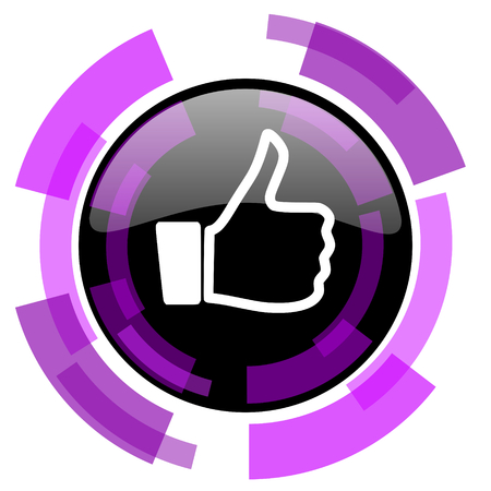 smarthone: Like pink violet modern design vector web and smartphone icon. Round button in eps 10 isolated on white background.