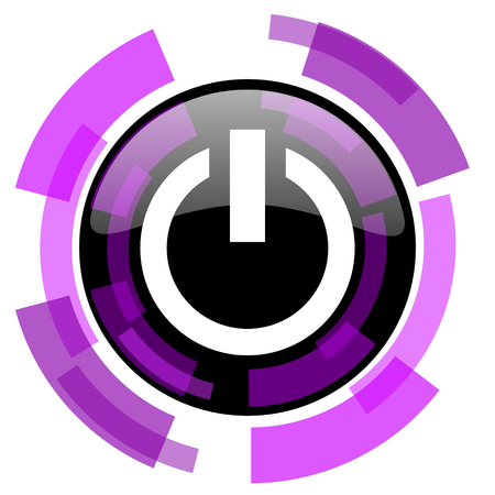 smarthone: Power pink violet modern design vector web and smartphone icon. Round button in eps 10 isolated on white background. Illustration