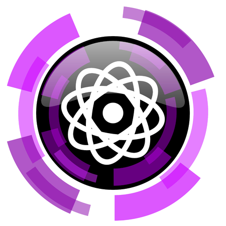 smarthone: Atom pink violet modern design vector web and smartphone icon. Round button in eps 10 isolated on white background.