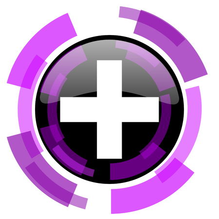 smarthone: Plus pink violet modern design vector web and smartphone icon. Round button in eps 10 isolated on white background.