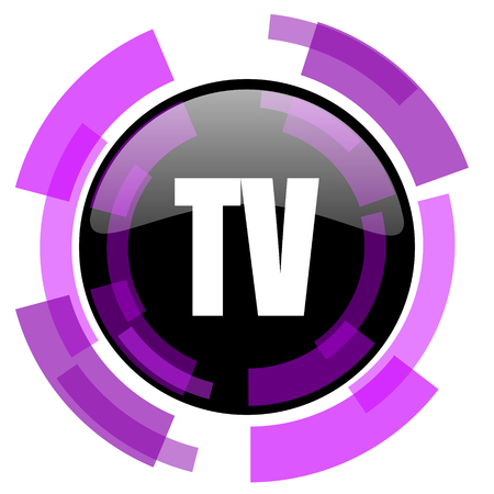 smarthone: Tv pink violet modern design vector web and smartphone icon. Round button in eps 10 isolated on white background.