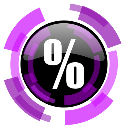 smarthone: Percent pink violet modern design vector web and smartphone icon. Round button in eps 10 isolated on white background.