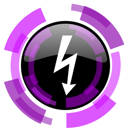 smarthone: Bolt pink violet modern design vector web and smartphone icon. Round button in eps 10 isolated on white background.