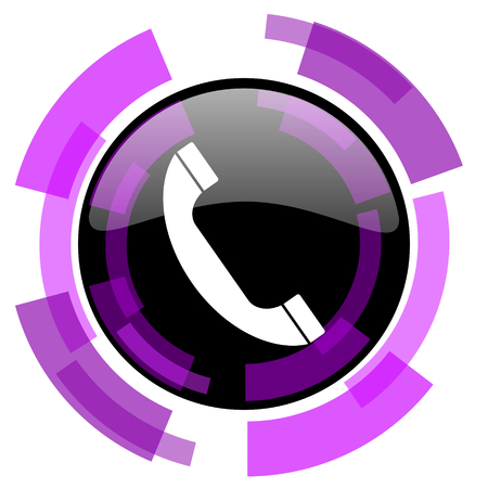 smarthone: Phone pink violet modern design vector web and smartphone icon. Round button in eps 10 isolated on white background.