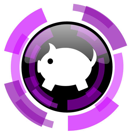 Piggy bank pink violet modern design vector web and smartphone icon. Round button in eps 10 isolated on white background. Illustration