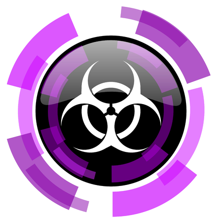 smarthone: Biohazard pink violet modern design vector web and smartphone icon. Round button in eps 10 isolated on white background.