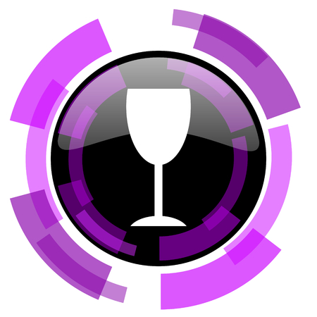 smarthone: Alcohol  pink violet modern design vector web and smartphone icon. Round button in eps 10 isolated on white background.