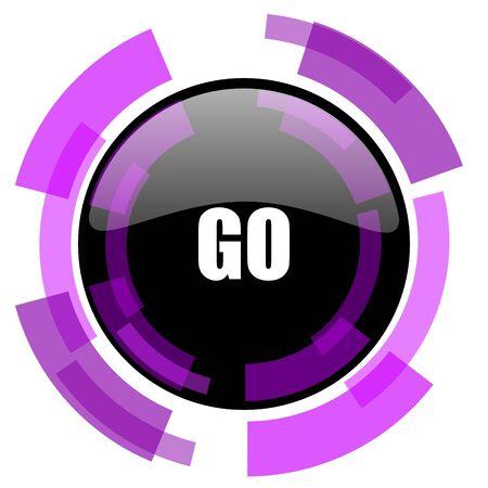 Gehen Sie rosa violettes Vektornetz des modernen Designs und Smartphoneikone. Runder Knopf in ENV 10 lokalisiert auf weißem Hintergrund.