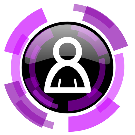 smarthone: Person pink violet modern design vector web and smartphone icon. Round button in eps 10 isolated on white background.