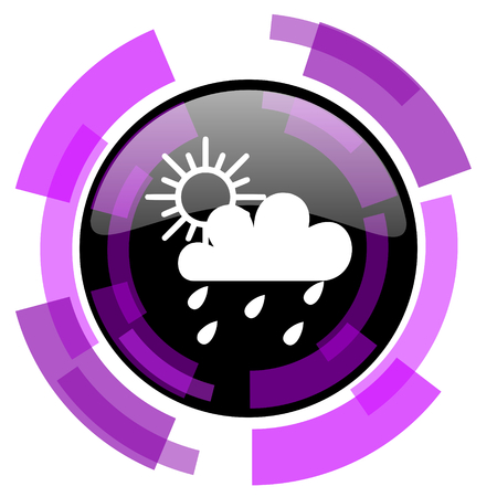 Rain pink violet modern design vector web and smartphone icon. Round button isolated on white background. Illustration