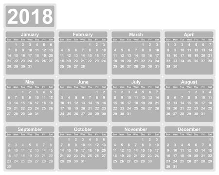 첫 번째 년 2018 일요일에 대한 간단한 편집 가능한 벡터 달력