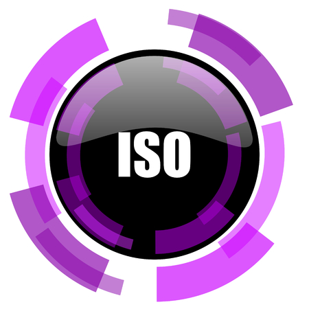 ISO pink violet modern design vector web and smartphone icon. Round button isolated on white background.