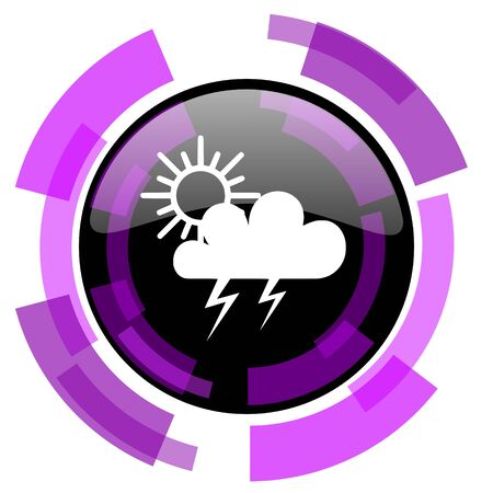 Storm pink violet modern design vector web and smartphone icon. Round button isolated on white background.