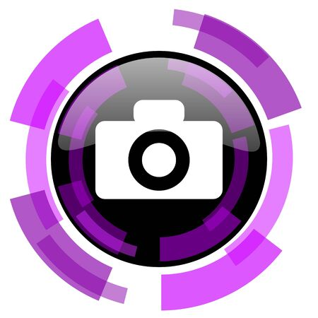 Camera pink violet modern design vector web and smartphone icon. Round button isolated on white background. Illustration