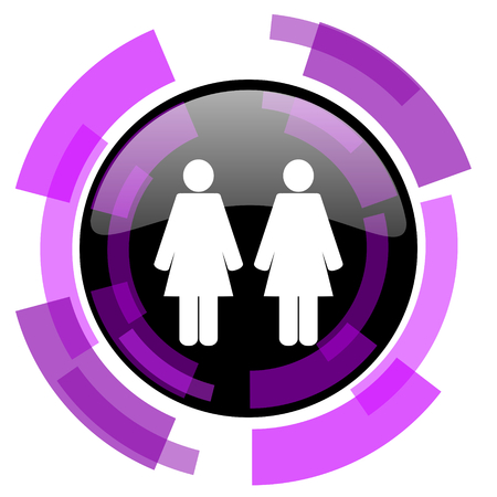 Couple pink violet modern design vector web and smartphone icon. Round button isolated on white background.