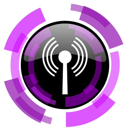 Wifi pink violet modern design vector web and smartphone icon. Round button isolated on white background. Illustration