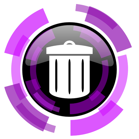 Recycle pink violet modern design vector web and smartphone icon. Round button isolated on white background.