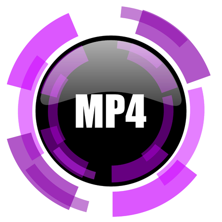 MP4 pink violet modern design vector web and smartphone icon. Round button isolated on white background. Illustration