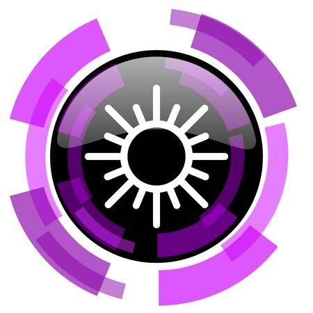 Sun pink violet modern design vector web and smartphone icon. Round button isolated on white background.