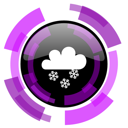 Snowing pink violet modern design vector web and smartphone icon. Round button isolated on white background. Illustration