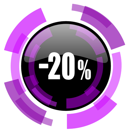 20 percent sale retail pink violet modern design vector web and smartphone icon. Round button in eps 10 isolated on white background.
