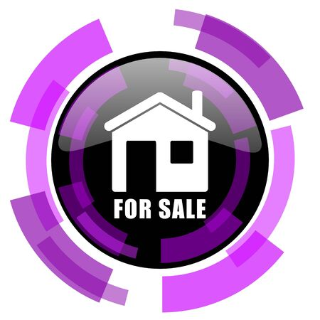 For sale pink violet modern design vector web and smartphone icon. Round button in eps 10 isolated on white background.