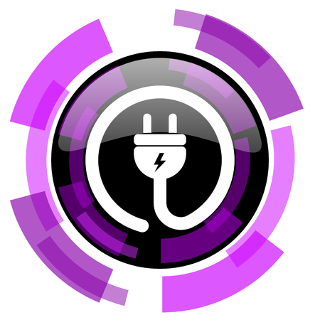 Electric plug pink violet modern design vector web and smartphone icon. Round button in eps 10 isolated on white background.