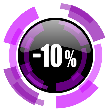 10 percent sale retail pink violet modern design vector web and smartphone icon. Round button in eps 10 isolated on white background.
