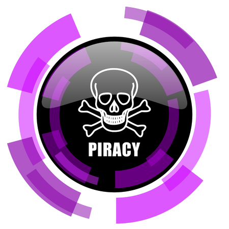 Piracy skull pink violet modern design vector web and smartphone icon.