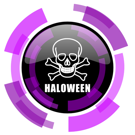 Haloween skull pink violet modern design vector web and smartphone icon. Round button in eps 10 isolated on white background. Illustration