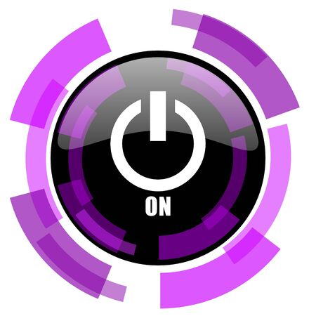 Power on pink violet modern design vector web and smartphone icon.