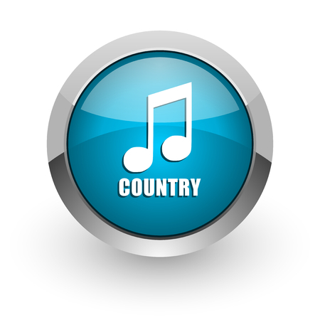 Music country blue silver metallic chrome border web and mobile phone icon on white background with shadow
