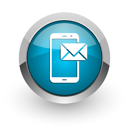 Mail blue silver metallic chrome border web and mobile phone icon on white background with shadow