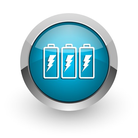 Battery blue silver metallic chrome border web and mobile phone icon on white background with shadow