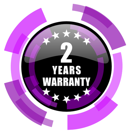 Warranty guarantee 2 year pink violet modern design vector web and smartphone icon. Round button in eps 10 isolated on white background. Illustration