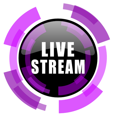 Live stream pink violet modern design vector web and smartphone icon