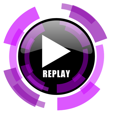 Replay pink violet modern design vector web and smartphone icon