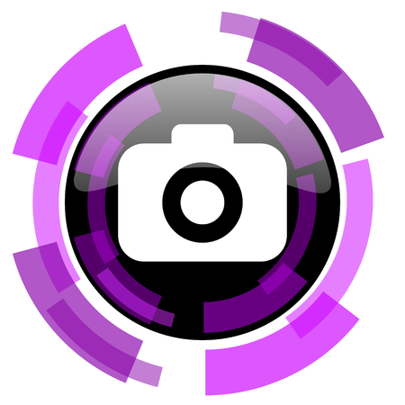 Camera pink violet modern design vector web and smartphone icon