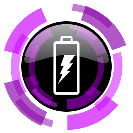 Battery pink violet modern design vector web and smartphone icon