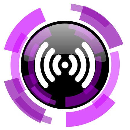 Wireless signal pink violet modern design vector web and smartphone icon