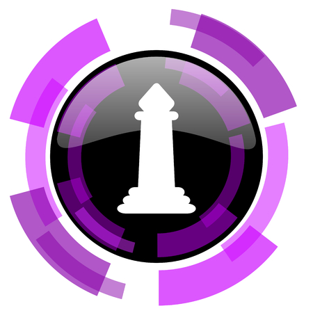 Chess piece pink violet modern design vector web and smartphone icon Illustration