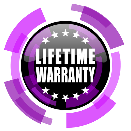 Lifetime warranty pink violet modern design vector web and smartphone icon