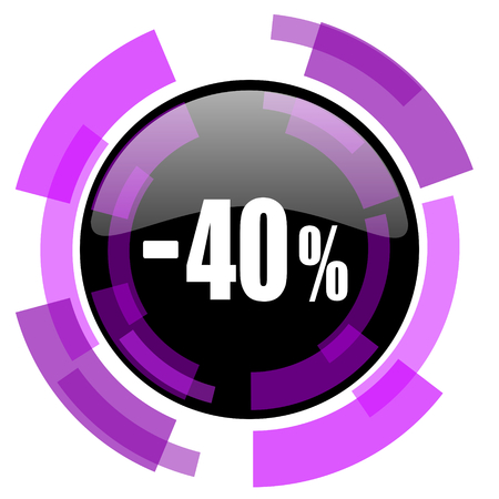 40 percent sale retail pink violet modern design vector web and smartphone icon Çizim